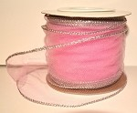 Pink Wired Tulle with Silver Edge (3